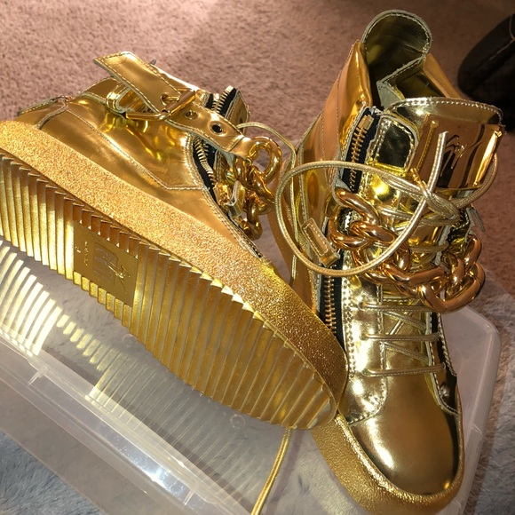 73683d99a21a0 Giuseppe Zanotti Shoes | All Gold Giuseppe Sneakers With Chain For ...